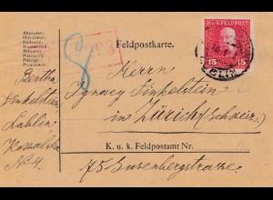 1918: Feldpostkarte, KuK Feldpost Lublin nach Zürich, zensiert Feldkirch