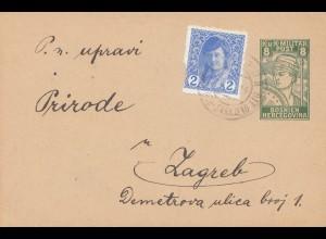 1919: Donje Hrasno nach Zagreb-KuK Militär Post-Bosnien
