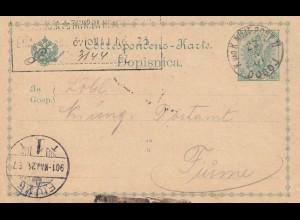 1901: KuK Militärpost Doboj nach Ungarn: Fiume