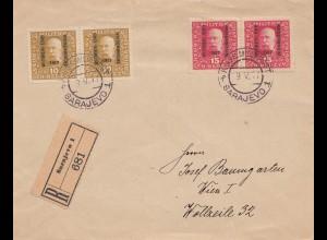 1917: KuK Post Sarajevo - Einschreiben nach Wien