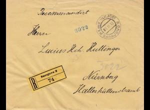 1913: KuK Einschreiben Sarajevo nach Nürnberg