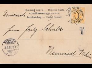 KuK Militärpost 1901: Mostar nach Neuwied - Tax