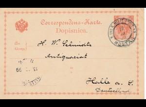1899: Ganzsache: KuK Militärpost Mostar nach Halle
