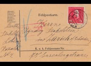 1918: Feldpostkarte Lublin: Zensiert Feldkirch in die Schweiz