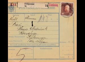 1913: Paketkarte: Feldpostamt Rumänien nach Rozsahegy