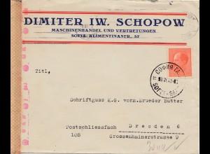 Bulgarien 1943: Brief von Sofia nach Dresden - Zensur