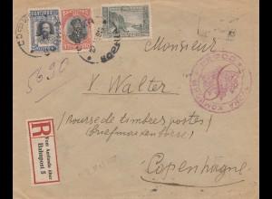 Bulgarien 1916: Einschreiben von Sofia nach Copenhagen - R-Zettel Bahnpost Ausl.
