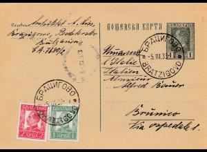 Bulgarien 1933: Ganzsache von Bratzigovo nach Brumico