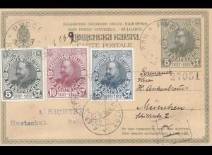 Bulgarien 1912 Ganzsache als Ansichtskarte nach München