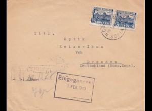 Bulgarien 1949: Brief von Sofia nach Dresden- Zeiss-Idon