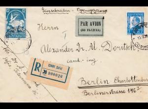 Bulgarien 1939: Einschreiben von Sofia nach Berlin