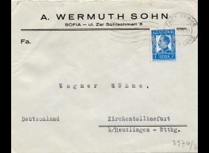 Bulgarien 1940: Brief von Sofia nach Kirchentellinsfurt - Zensur
