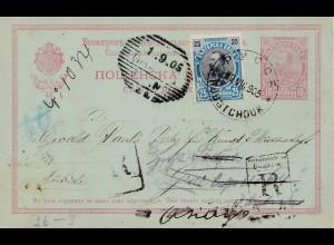 Bulgarien 1905: Ganzsache Rustschuk nach Deutschland