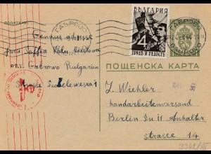 Bulgarien 1944: Ganzsache nach Deutschland - Zensur