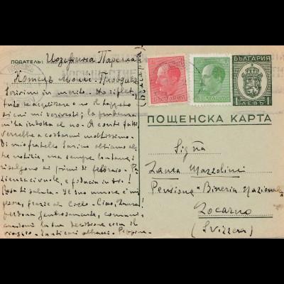 Bulgarien Ganzsache von Plovdiv nach Locarno/Sizilien