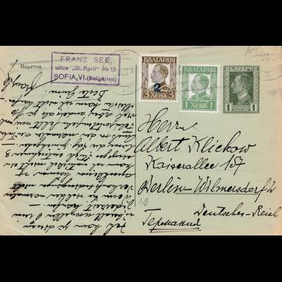 Bulgarien 1934: Ganzsache Sofia nach Berlin