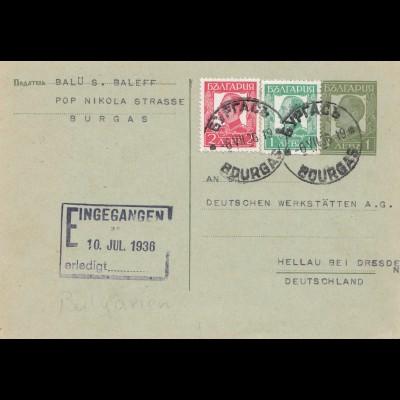 Bulgarien 1936: Ganzsache Burgas nach Hellau/Dresden