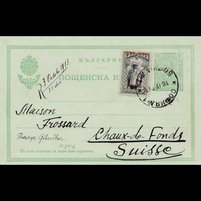 Bulgarien 1913: Ganzsache Sofia in die Schweiz
