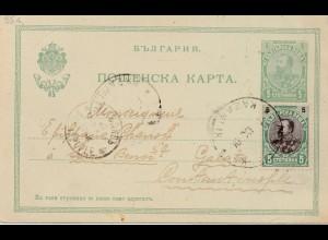 Bulgarien 1904: Ganzsache Kazanik nach Constantinople