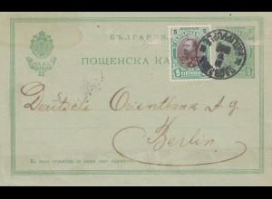 Bulgarien 1910: Ganzsache Philippople nach Berlin: Orientbank