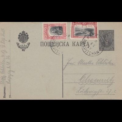 Bulgarien 1917: Ganzsache Kaspitchan nach Chemnitz