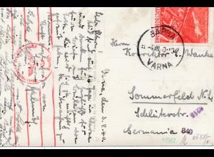 Bulgarien 1940: Ansichtskarte von Varna nach Sommerfeld - Zensur