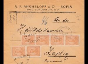Bulgarien 1921: Brief von Sofia nach Leipzig - Einschreiben