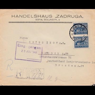Bulgarien 1948: Brief von Sofia nach Dresden - Einschreiben