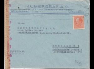 Bulgarien 1943: Brief von Sofia nach Dresden - OKW Zensur