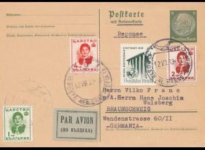 Bulgarien 1939: Antwortkarte Ganzsache- Luftpost- Zusatzfrankatur