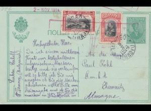 Bulgarien 1914: Ganzsache nach Chemnitz
