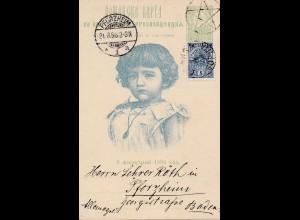 Bulgarien 1896: Ganzsache von Sophia nach Pforzheim