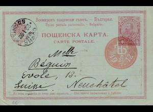 Bulgarien 1912: Ganzsache mit Ansicht Prinz Boris in die Schweiz
