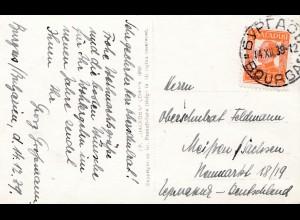 Bulgarien 1939: Ansichtskarte Bourgas nach Meißen/Sachsen