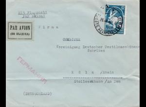 Bulgarien 1939: Luftpost von Sofia nach Köln
