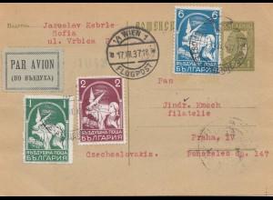 Bulgarien 1937: Flugpost Ganzsache nach Prag