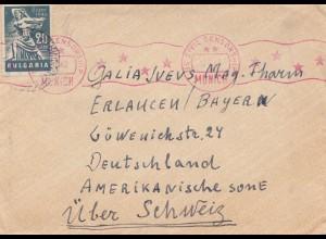 Bulgarien 1947: Brief von Widinn nach Erlangen über die Schweiz: US-Civil-Censor