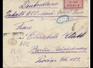Bulgarien 1926: Wertbrief von Sofia nach Berlin