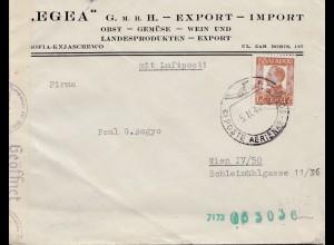 Bulgarien 1942: Brief von Sofia nach Wien: Luftpost: Wein, Obst, Gemüse - Zensur
