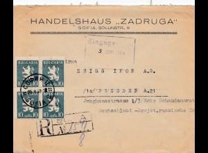 Bulgarien: 1948: Einschreiben von Sofia nach Dresden Zeiss-Ikon AG