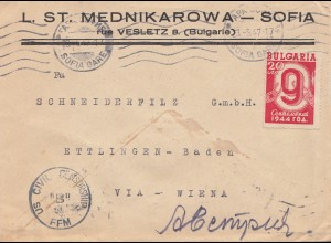 Bulgarien: 1947: Brief von Sofia nach Wien: US Civil Censorship Frankfurt
