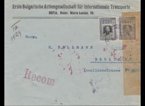Bulgarien: 1917: Einschreiben von Sofia nach Berlin