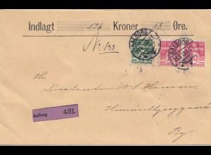 Dänemark: 1913: Wertbrief Aalborg nach Ry