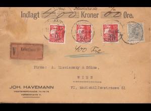 Dänemark: Wertbrief 1932 Kopenhagen nach Wien
