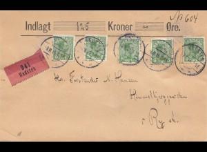 Dänemark: 1915: Wertbrief von Hadsten nach Ry