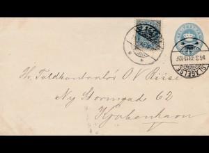 Dänemark: 1893: Ganzsache von Slagelse nach Kopenhagen