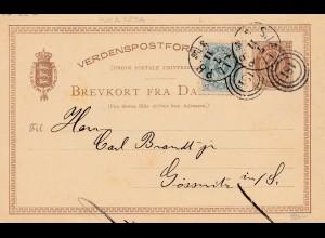 Dänemark: 1889: Ganzsache von Kopenhagen nach Deutschland