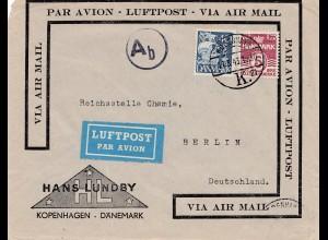 Dänemark: 1943: Luftpost Brief von Kopenhagen nach Berlin: Reichsstelle Chemie