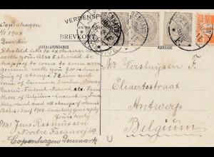 Dänemark: 1908: Ansichtskarte von Kopenhagen nach Belgien