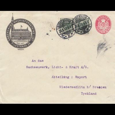 Dänemark: 1908: Ganzsache - Brief von Kopenhagen nach Dresden